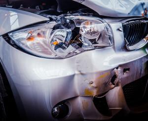 Smashed Luxury Car