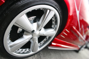 Red Sport Car Wheel detailed aluminium tire